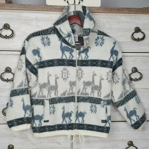 Sweaters - Vintage hand made hooded wool sweater
